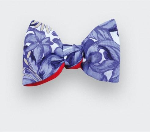 noeud papillon grandes fleurs bleu - crêpe de soie - cinabre paris