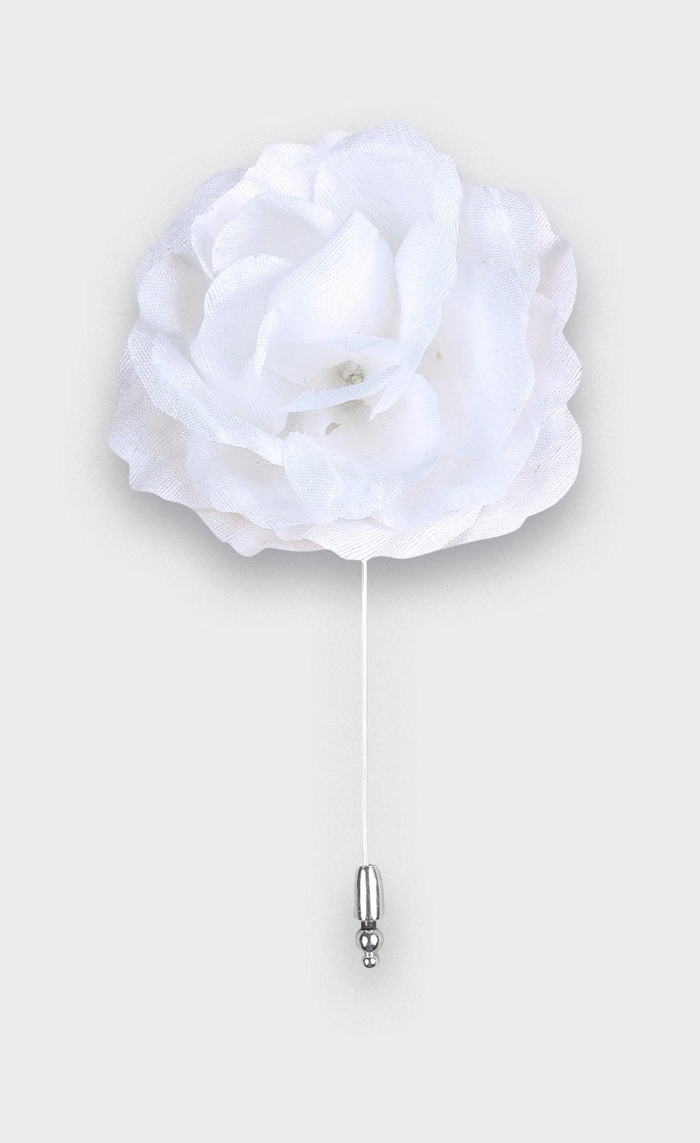CINABRE Paris - Rose Lapel Pin - White Silk - Handmade