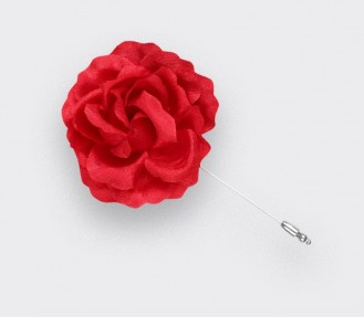 Rose Flower Lapel Pin Red silk - Cinabre Paris