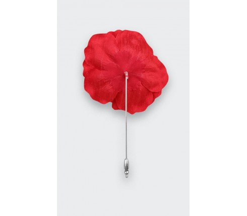 Boutonnière Rose pour costume Soie Rouge - Cinabre Paris