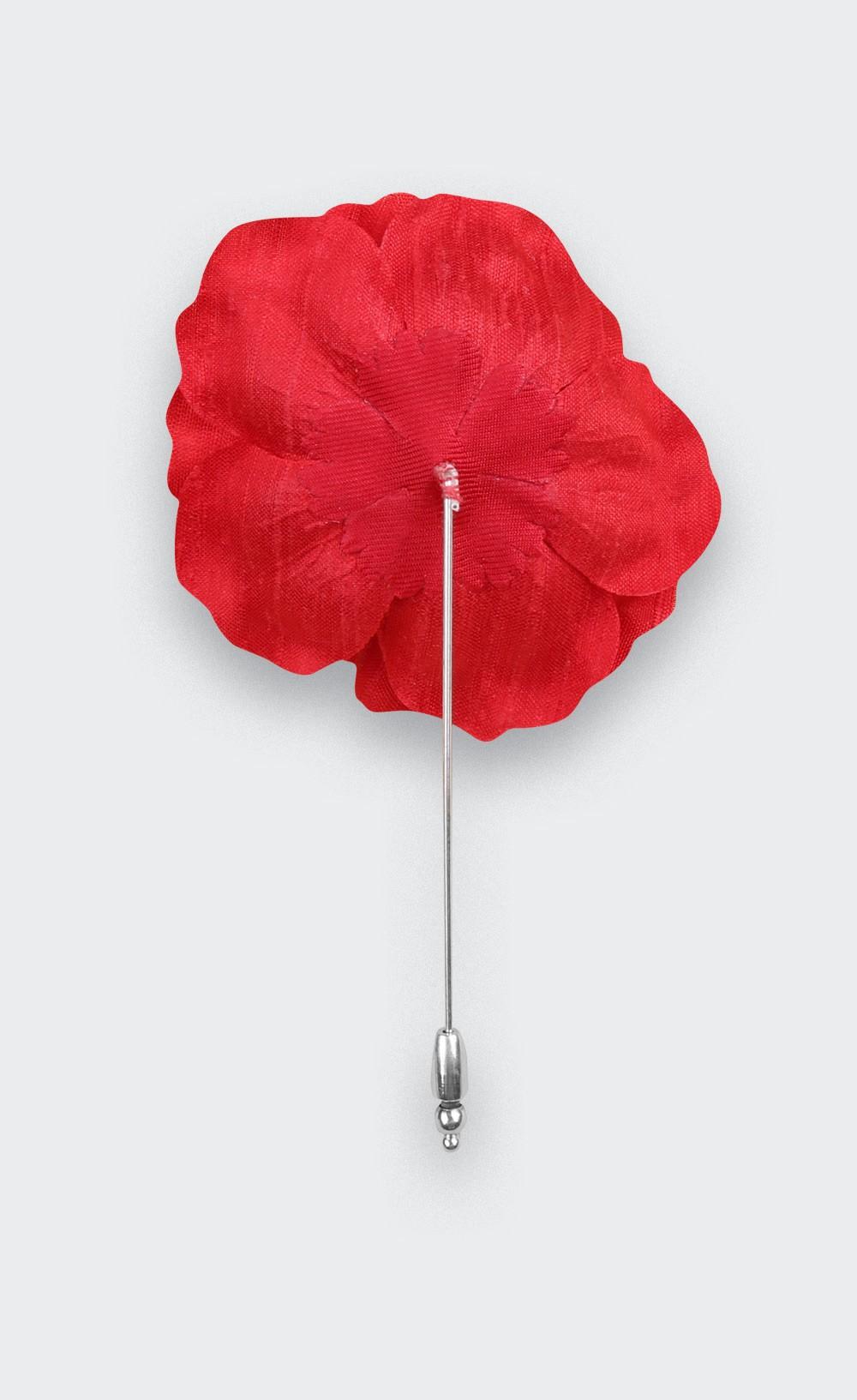 Rose Flower Lapel Pin Red silk - Cinabre Paris