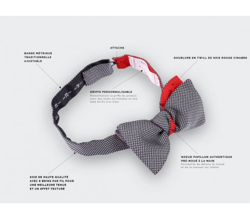 Black and white Woven Silk bow tie - silk - CINABRE Paris
