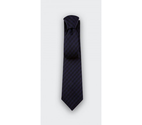 Navy Blue and Black Herringbone Tie - wool - Cinabre Paris
