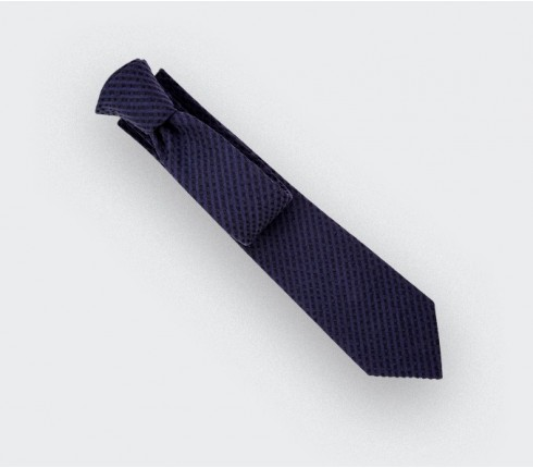 Navy blue Shades Seersucker Tie - seersucker - Cinabre Paris