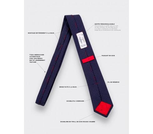 Navy blue Shades Seersucker Tie - seersucker - Cinabre Paris