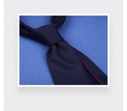 Navy blue shades dots tie - wool - Cinabre Paris