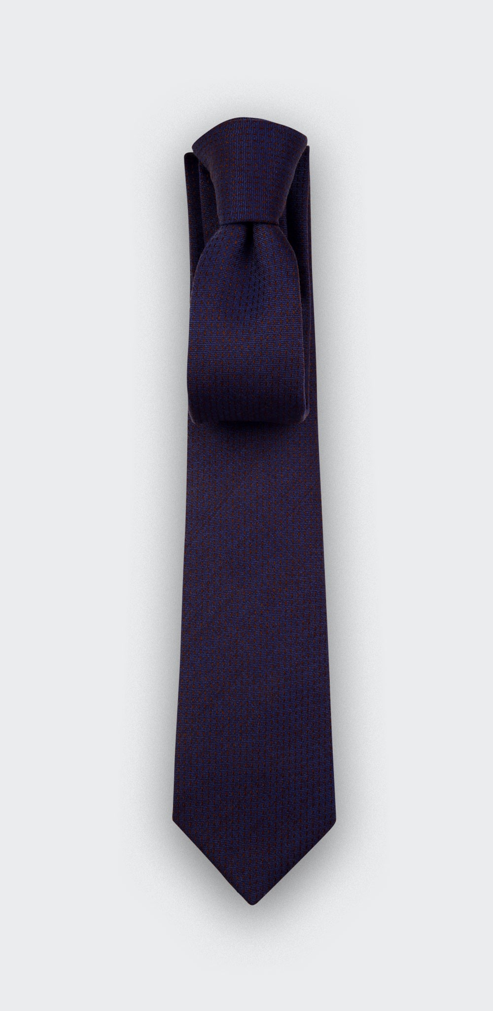 Navy blue rust dots tie - wool - Cinabre Paris