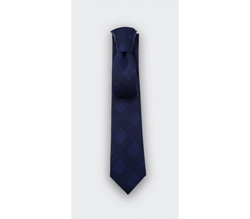 Network Navy blue tie - wool - Cinabre Paris