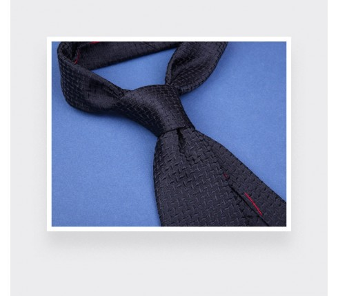 Dash textured navy blue tie - silk - Cinabre Paris