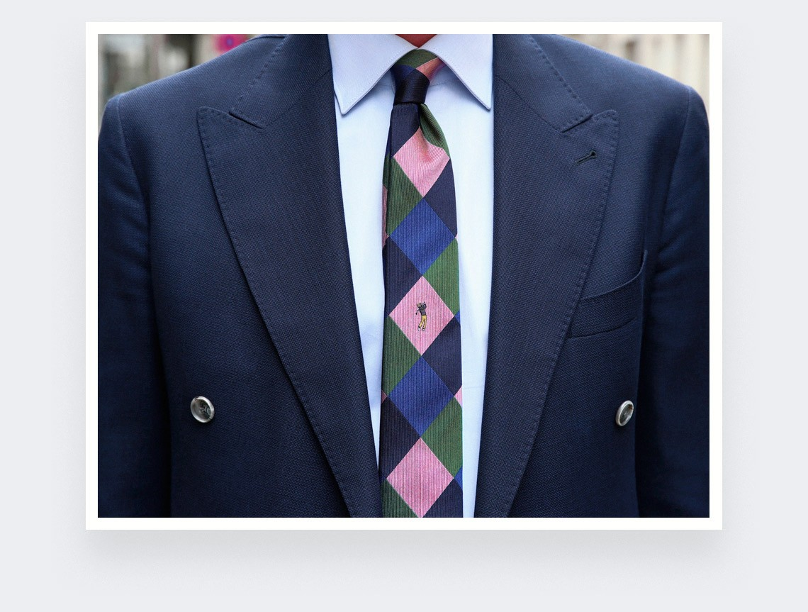 """Golden Bear"" tie - silk- cinabre Paris"