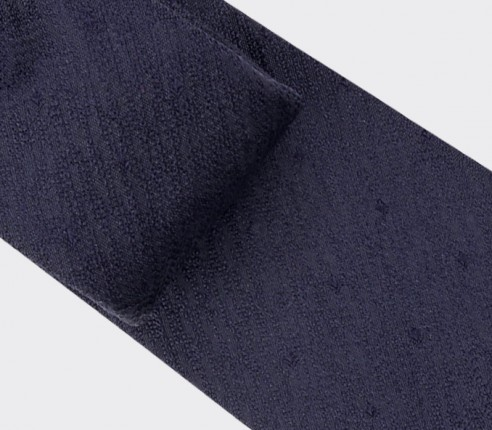 Polka dots textured navy blue tie - silk - Cinabre Paris