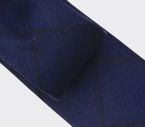 Navy blue shades squares Tie - wool - Cinabre Paris