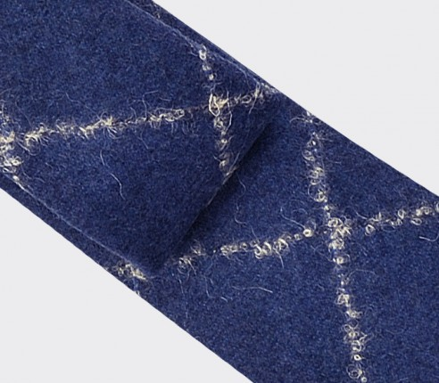 Cravate flanelle boucle carreaux bleu - cinabre paris