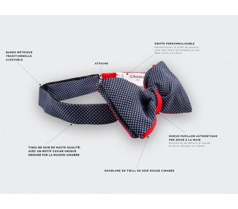 light blue Birdseye silk bow tie - cinabre paris