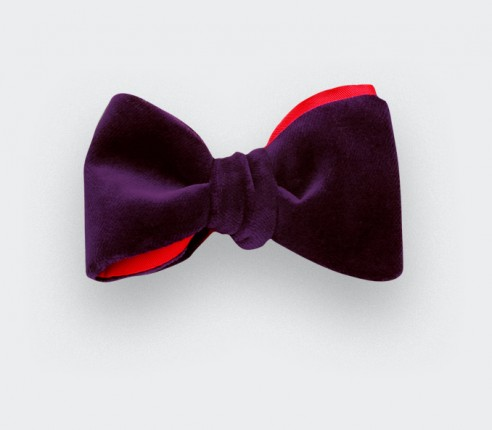 Mauve Velvet Bow Tie - cinabre paris
