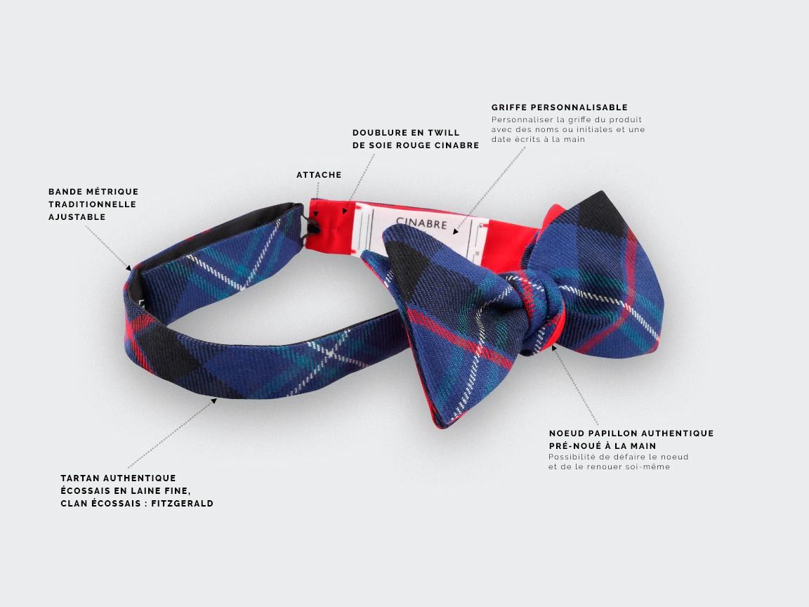 Blue Fitzgerald tartan Bow tie