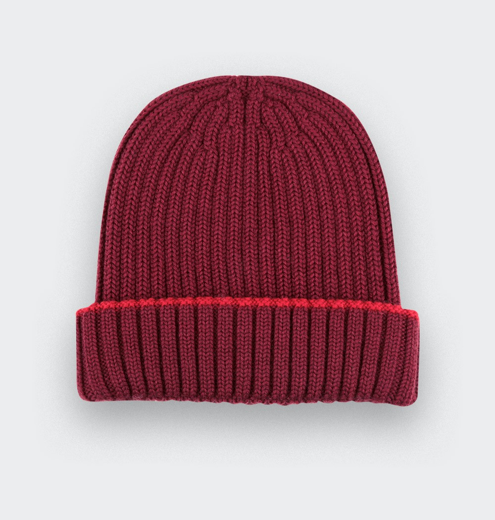 Burgundy beanie merino wool