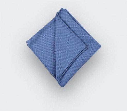 CINABRE Paris - Pocket square - Blue Denim woven silk - Hand Made