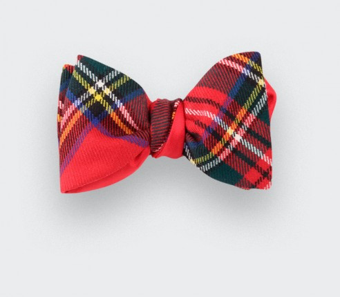 Red stewart royal tartan bow tie - cinabre paris