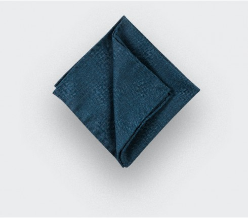 CINABRE Paris - Pocket square - Peacock Blue Mesh - Hand Made