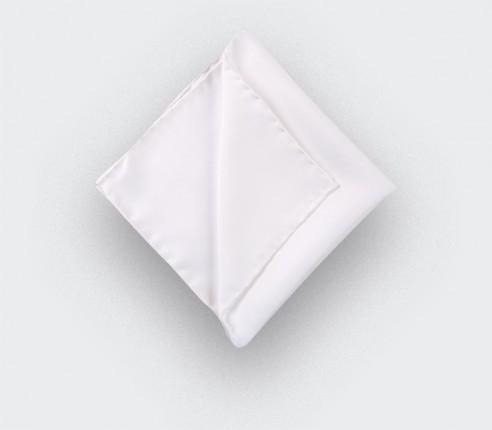 white twill silk pocket square - silk - cinabre paris