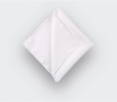 white twill silk pocket square - silk - cinabre paris