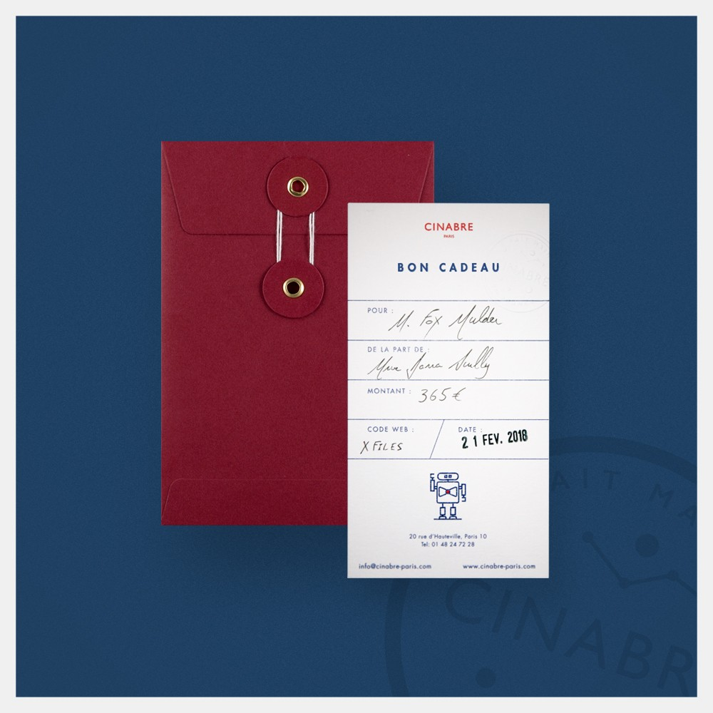 Lapel pin - gift card 95euros - Cinabre Paris