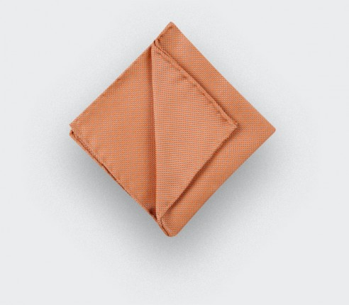 CINABRE Paris - Pocket square - Orange woven silk - Hand Made
