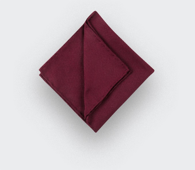 CINABRE Paris - Pocket square - Burgundy woven silk - Hand Made