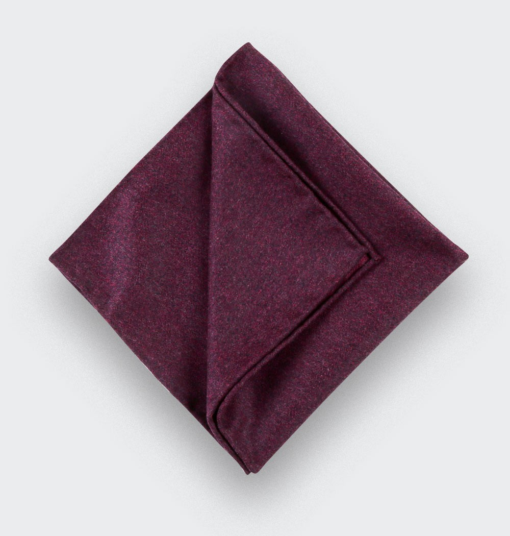 CINABRE Paris - Pocket Square - Burgundy Flannel - Handmade