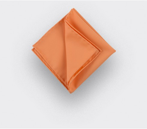 CINABRE Paris - Pocket Square - Orange coral - Handmade