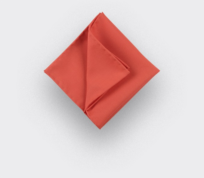 CINABRE Paris - Pocket Square - Red coral - Handmade
