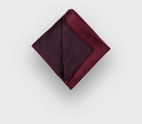 CINABRE Paris - Pocket Square - Burgundy birdseye - Handmade