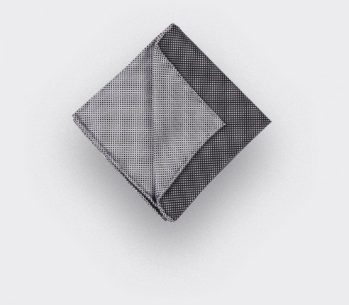 CINABRE Paris - Pocket Square - Black and white birdseye - Handmade