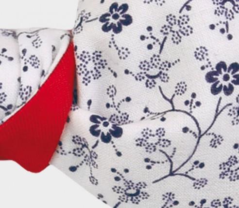 Noeud Papillon Fleuri Blanc et Marine - coton - CINABRE Paris