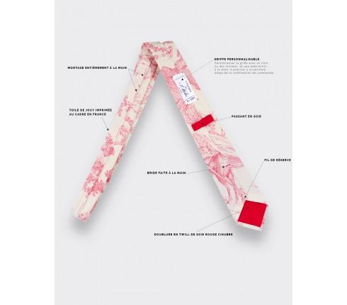 CINABRE Paris - Tie - Red Toile de Jouy - handmade