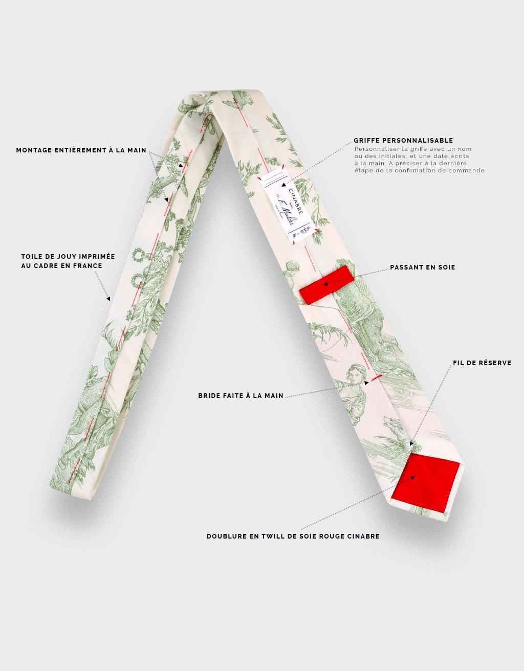 CINABRE Paris - Tie - Green Toile de Jouy - handmade