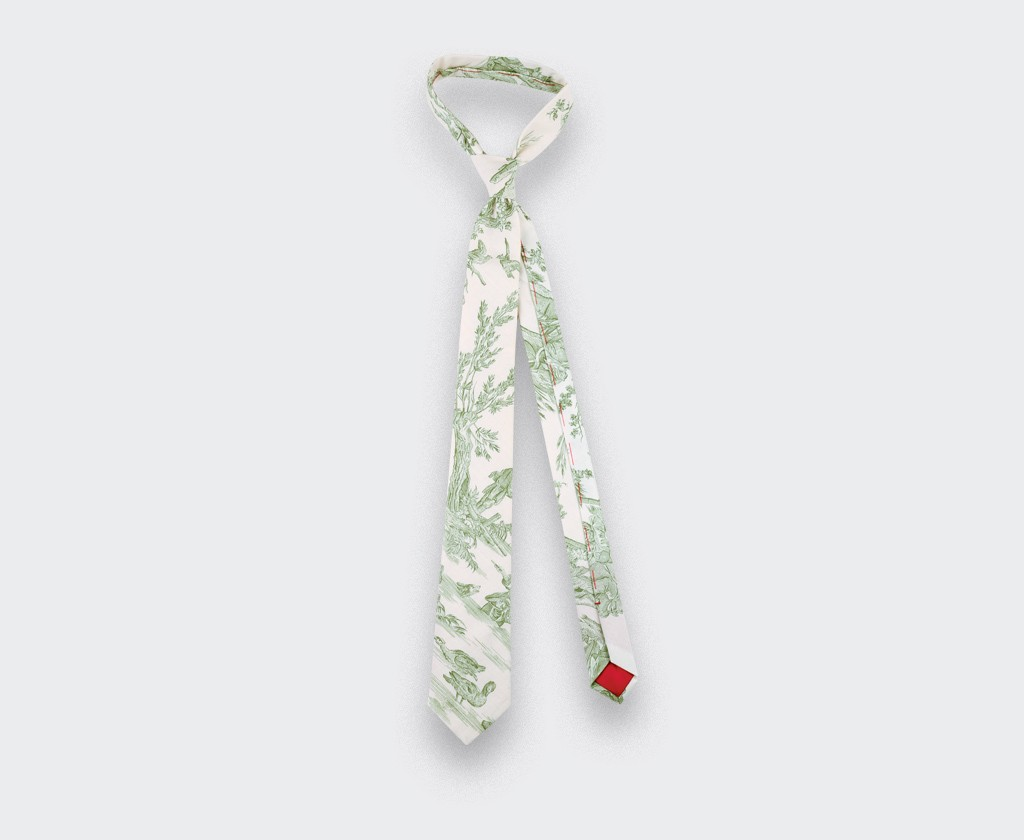 CINABRE Paris - Cravate - Toile de Jouy vert - fait main
