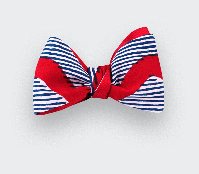 Red waves Wax Bow Tie - CINABRE Paris