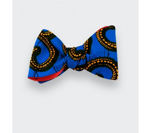 Blue and Yellow Wax Bow Tie - CINABRE Paris