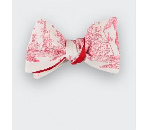 CINABRE Paris - Bowtie - Red Toile de Jouy - handmade