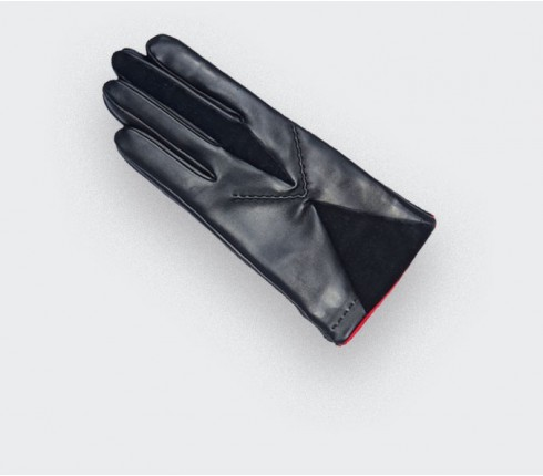 Gants Cinabre Star Axis noir en agneau doublure soie, made in France