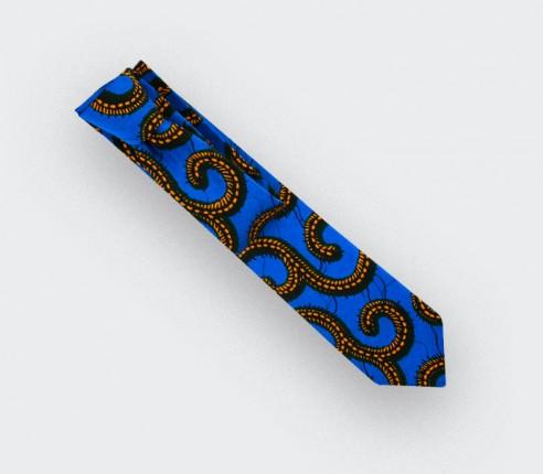 Cravate Wax bleu jaune Cinabre Paris