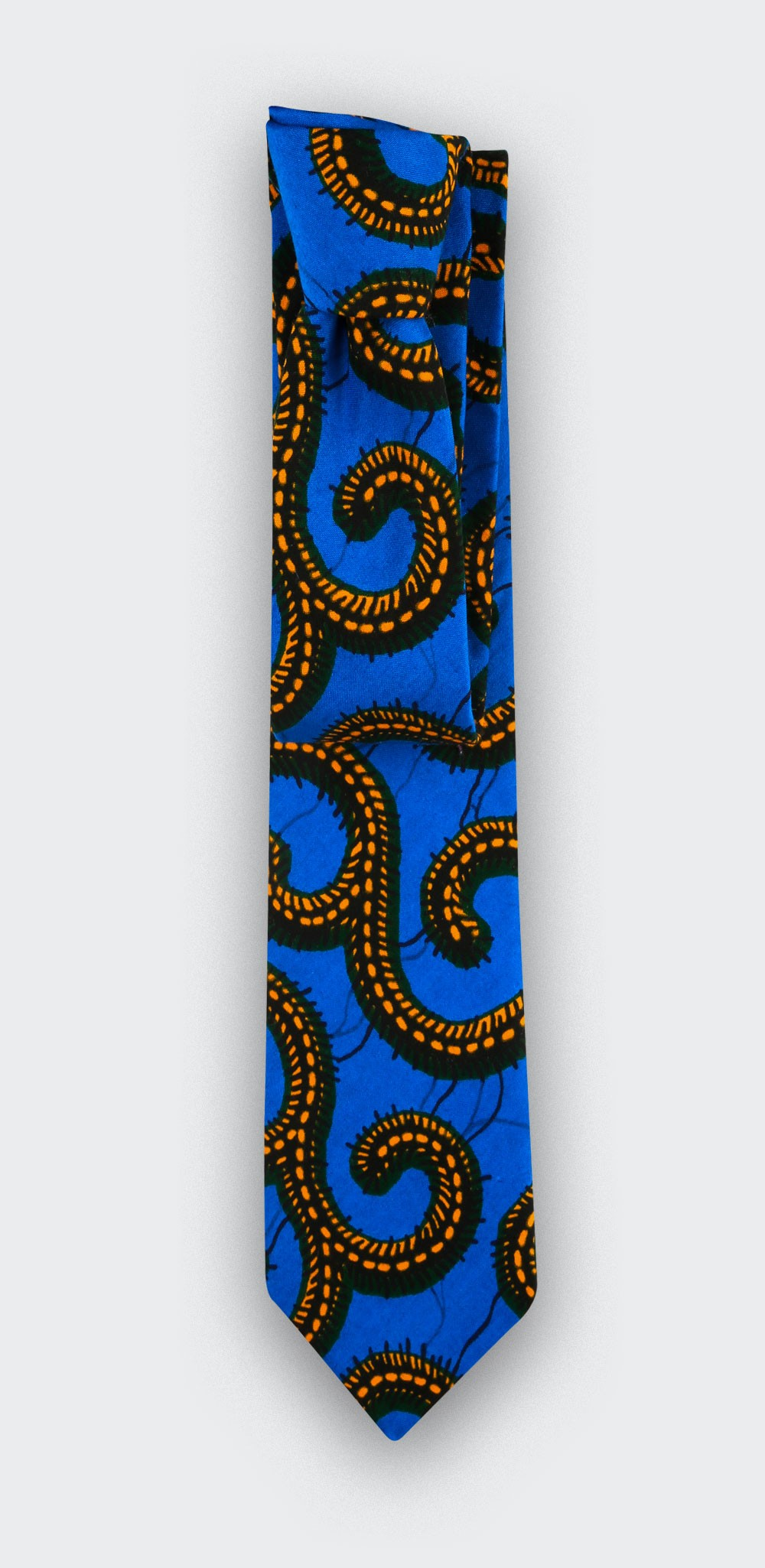 Tie wax yellow blue Cinabre Paris