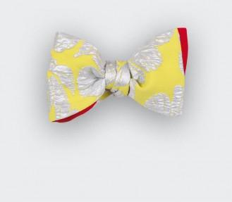 Noeud Papillon Fleuri Argent - CINABRE Paris