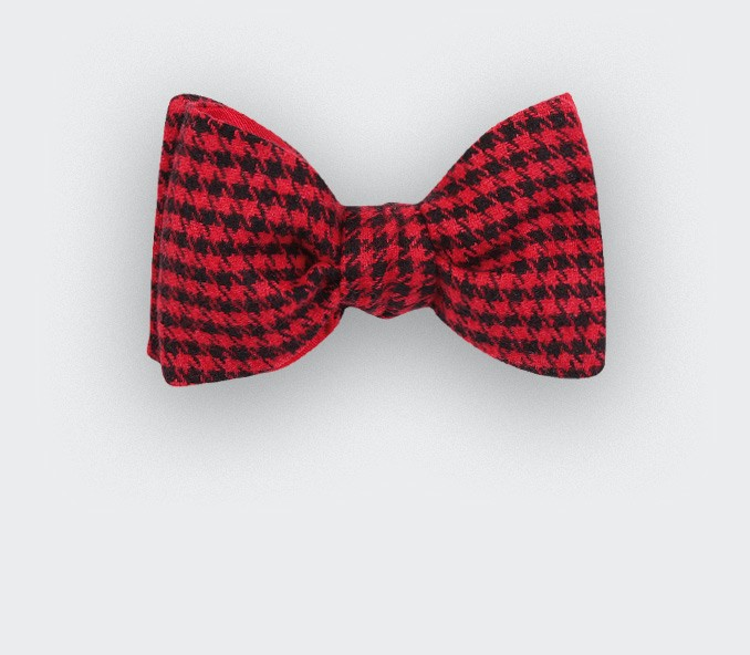 Red Houndstooth Bow tie - Cinabre Paris