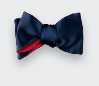 Midnight Blue Satin Bow Tie