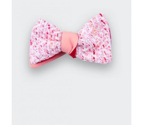 Noeud papillon tweed rose - laine - cinabre paris