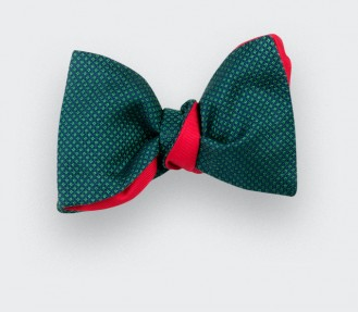 green Birdseye silk bow tie