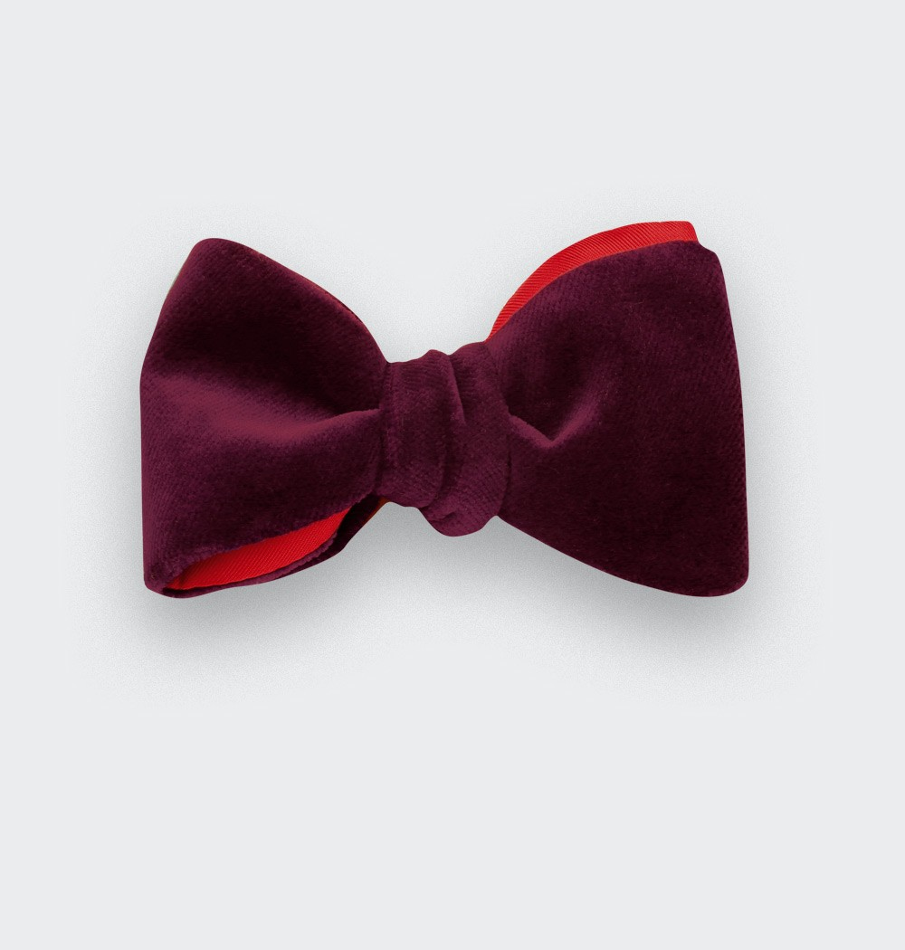 Wine-Red Velvet Bow Tie
